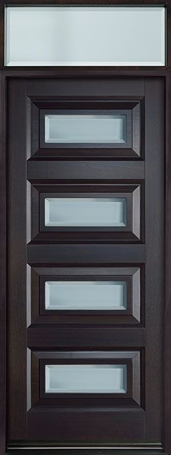 Entry Door in-Stock - Single - Solid Wood with Espresso Finish, Contemporary Series, Model DB-825PW