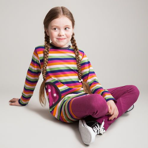 Colourful multistripe tunic, with round pockets in magenta polka dots http://en.nosh.fi/product/938/tunic-multistripe-lilac. Combined with Denim Look  Slim fit trousers, in magenta. http://en.nosh.fi/product/943/trousers-rock-star-denim-look-magenta