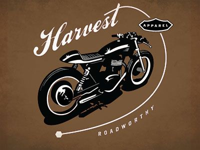 Harvest-cafe-racer, Gold Coast Australia. Love the interaction between type and illustration. Illustration is rad, too!