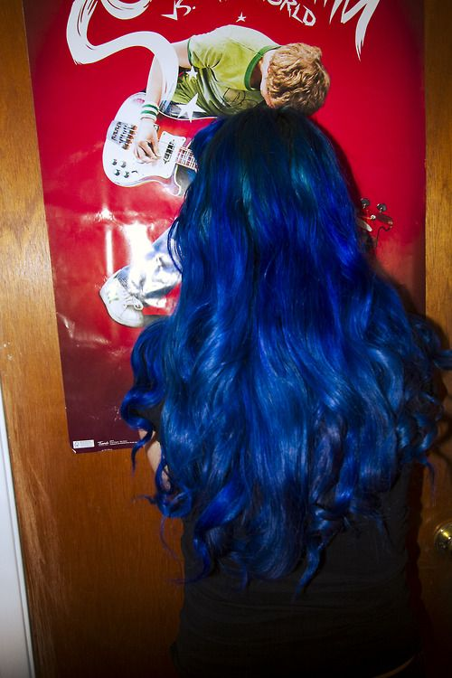 Bright hair can look girly too! Love the way long glossy curls looks with a mixture of Voodoo Blue and Rockabilly Blue. Pretty AND punky.