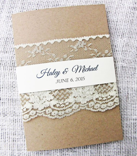 Lace Wedding Invitation, Rustic Wedding Invitation, Shabby Chic, Vintage Wedding