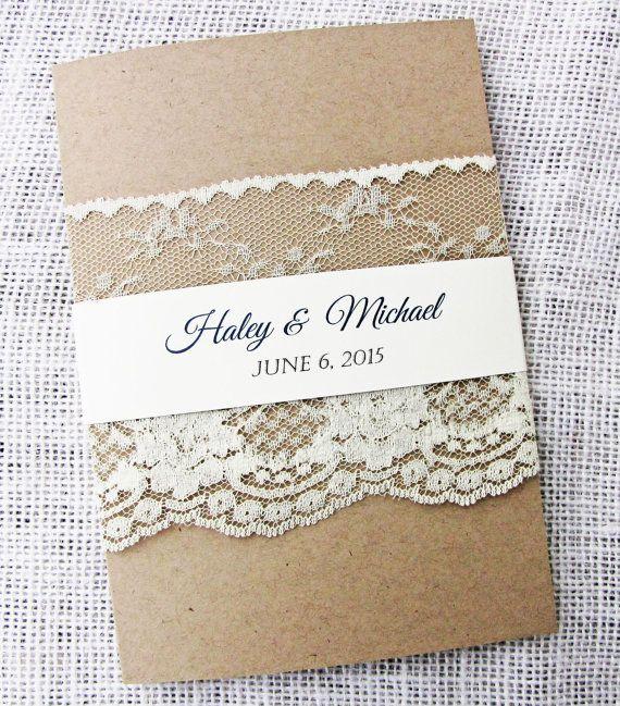 Rustic Wedding Invitation Lace Wedding by LoveofCreating on Etsy