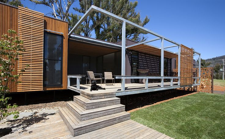 Mod House's north elevation deck and pergola