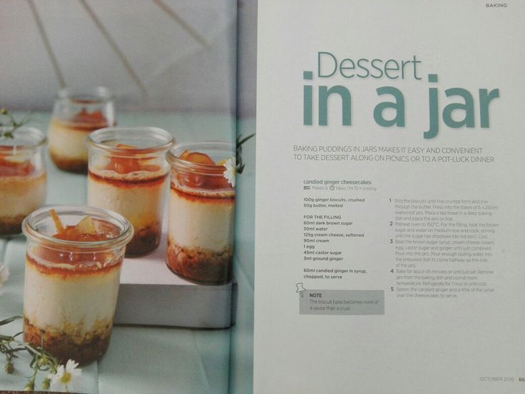Dessert in a jar,  ginger cheescakes