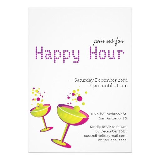 Happy Hour Cocktails Party Invite Drinks 2 Try Cocktails Party