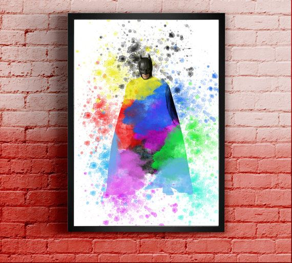 Batman Multicolor paint Print giclee Print Wall by MulticolourArt