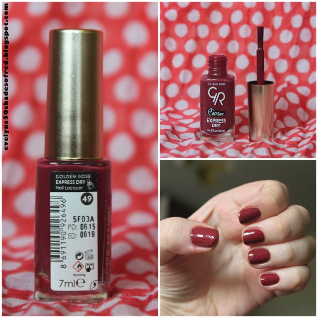 Evelyn's 50 Shades of Red: / Marsala - Golden Rose  Express Dry Nail Polish , #49