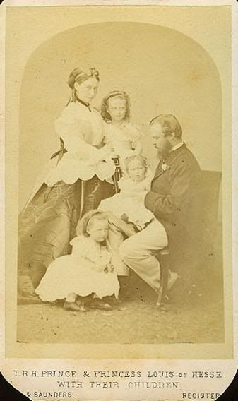 Alice, Louis with Victoria, Elizabeth and baby Irene