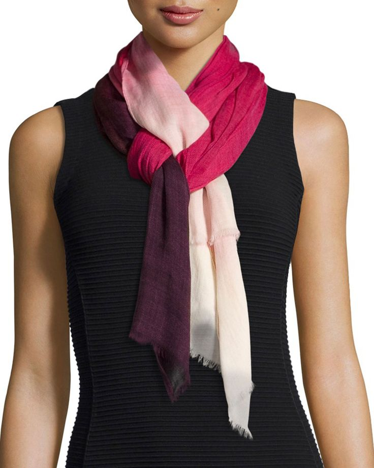 Oscar de la Renta Ombre Wool Scarf, Pink/Multi
