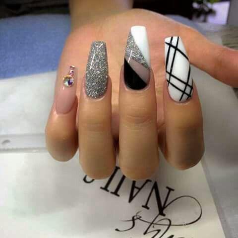black white silver tony ly nails awesome black white