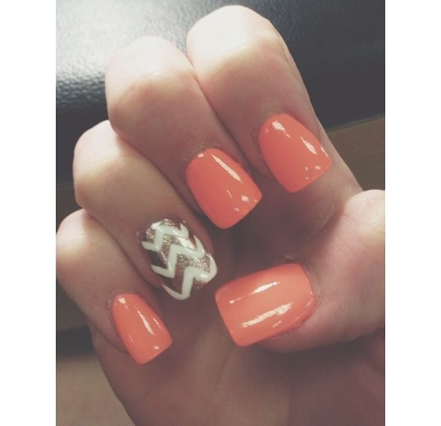 coral & rose gold chevron acrylic nails ☀︎
