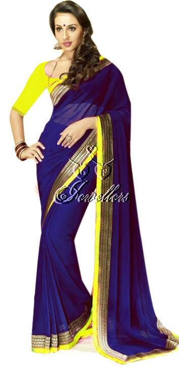 Faux chiffon sarees with beautiful border with contrast colour blouse   Material: Faux Chiffon  Colour: Royal Blue with Yellow and gold border   Price: $62 (AUD)  https://www.facebook.com/media/set/?set=a.690548291003703.1073741852.423983984326803&type=3#!/photo.php?fbid=690548371003695&set=a.690548291003703.1073741852.423983984326803&type=3&theater