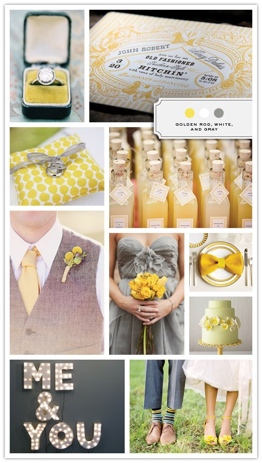 yellow :): Colors Combos, Idea, Gray Wedding, Yellow Wedding, Colors Combinations, Grey Yellow, Colors Palettes, Colors Schemes, Wedding Colors
