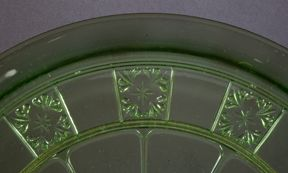Depression Glass Patterns:  Doric  Jeannette Glass Company - ca. 1935-1938 Jeannette Glass Company also made a similar pattern called Doric and Pansy, which includes a set of children's dishes.  Most often found in pink and green, but also made in Delphite (opaque blue). Ultra Marine (light teal) and yellow can be found occasionally in this pattern.