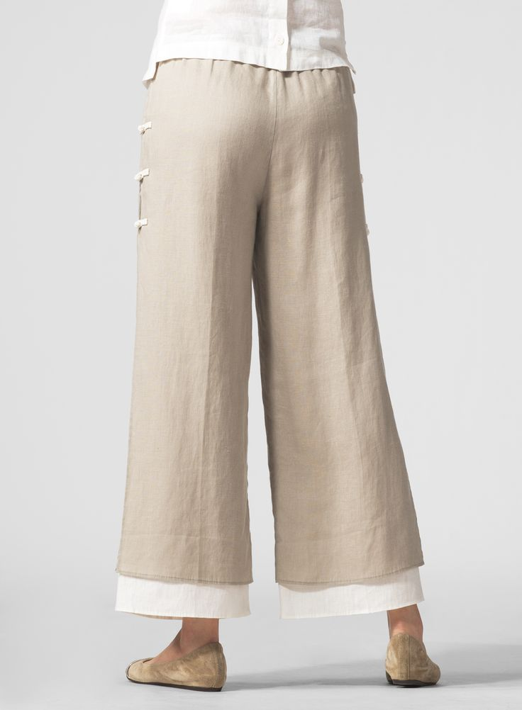 PLUS Collection - Linen Long Sleeve Top With Double-Layer Cropped Pants Set