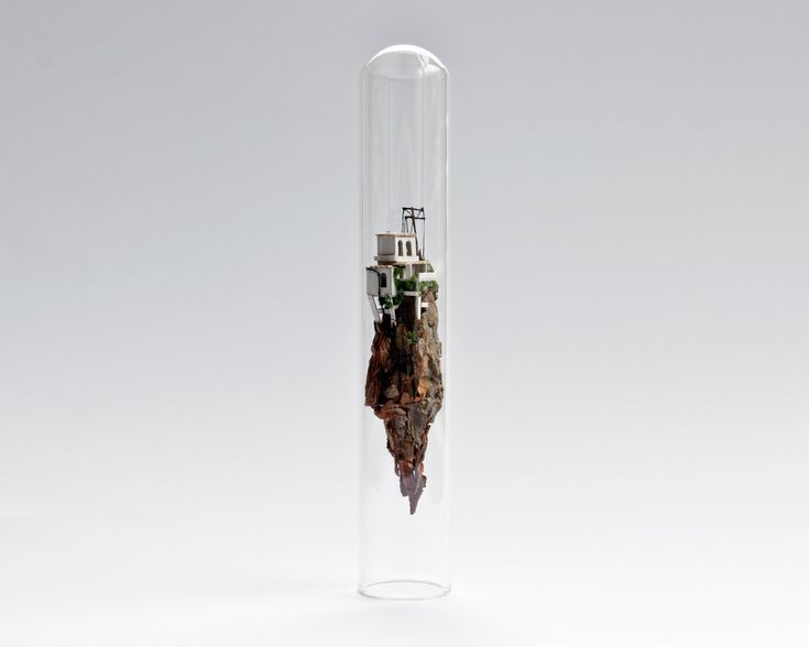 Majestic looking sculptures float in glass test tubes