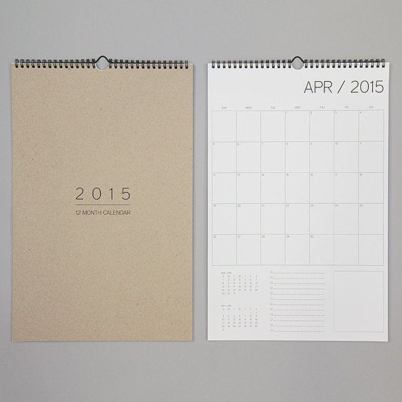 12 month wall calendar by REDSTARink on Etsy