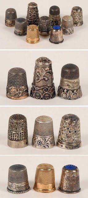 crumpledenvelope: Antique thimbles from Kim Carney's beautiful blog. A talented, imaginative gal with Texas ties living in the great northwest. Click on the pic!