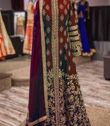 Buy Maroon bangalori silk embroidery semi stitched salwar with dupatta anarkali-salwar-kameez online