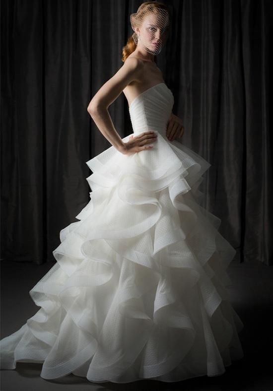 Ballgown with draped bodice and horsehair trimmed cascades | Judd Waddell |  https://www.theknot.com/fashion/carly-judd-waddell-wedding-dress
