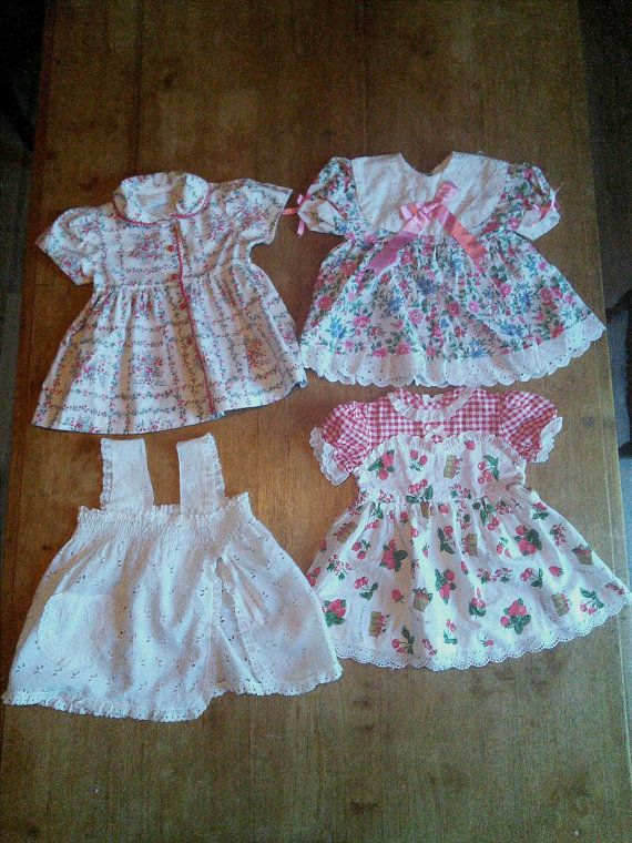3 Baby Dresses French Vintage 6 months by FromParisToProvence