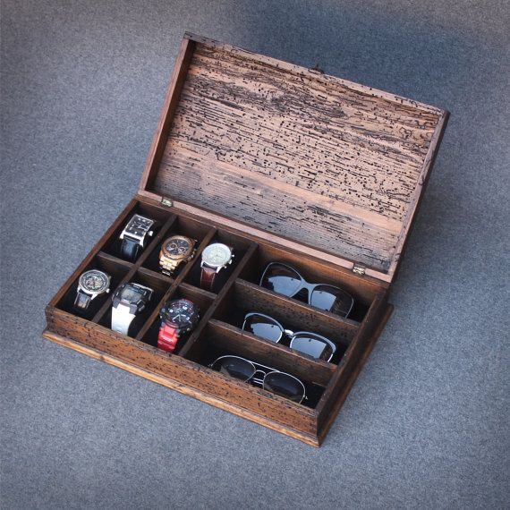 Personalized Rustic Men's Watch Box and Sunglasses - Fits 6 watches and 3 sunglasses