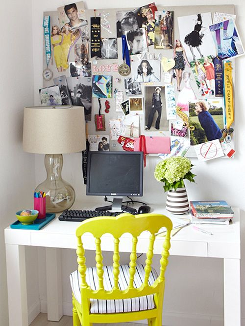 A teens room inspiration for an art room. Simple, classic and an inspiration wall!