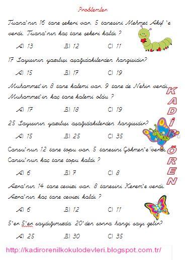 ilkokul ödevleri: 1.sınıf Matematik test 1