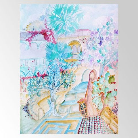 Miriam's Fountain Illustration Giclee Print by Sandrine Kespi – Matana Boutique