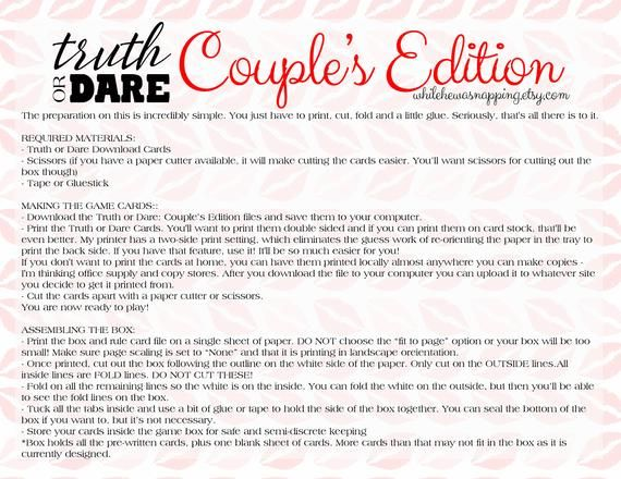 Truth Or Dare Couple S Naughty Game Perfect For Date Night Box Valentine S Gift Anniversary Gift Birthday Gift Instant Download Traditions To Start Couples Dares