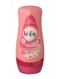 £3.99 - Veet In Shower Hair Removal Cream 300ml  Normal Skin.  Lotus milk and jasmine fragrance with moisturiser complex.  3 minutes.  Veet In Shower Hair Removal Cream for Normal Skin. Its amazingly effective formula with Moisturiser Complex contains 20% more moisturisers compared with the previous Veet Hair Removal Cream. It works in 3 minutes while you shower to leave your skin smooth, effectively moisturised and soft.