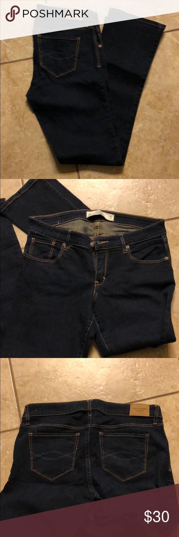 Abercrombie Jeans Excellent used condition! Only worn a few times! These are the A&F boot style. They are a dark wash Abercrombie & Fitch Jeans Boot Cut