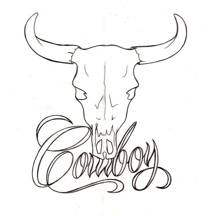 Cowboy Bull Skull Tattoo by ~Metacharis on deviantART