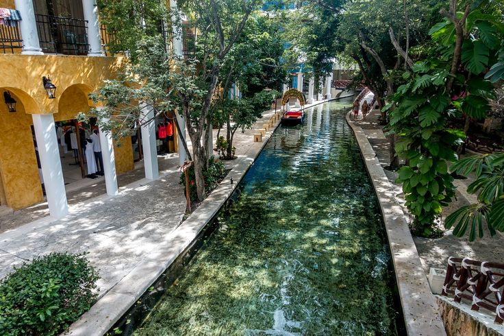 A river runs through the lobby of the Occidental Grand Xcaret Riviera Maya in Mexico
