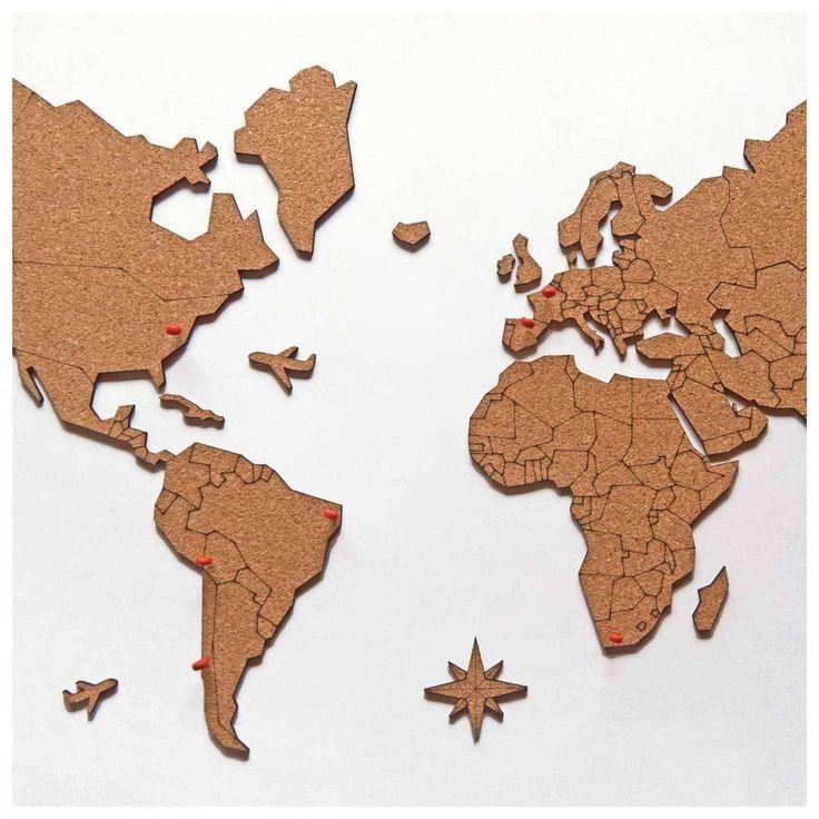 Mural de Cortiça Adesivo Mapa-Múndi + 10 Pins Especiais                                                                                                                                                                                 Mais