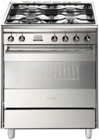 Smeg 60cm stainless steel freestanding gas/electric cooker with energy rating A (model FS61XNG8)  for sale at L & M Gold Star (2584 Gold Coast Highway, Mermaid Beach, QLD). Don't see the Smeg product that you want on this board? No worries, we can order it in for you!