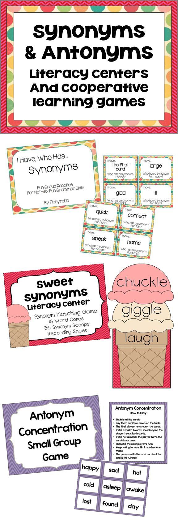 Free Preschool & Kindergarten Synonyms and Antonyms ...
