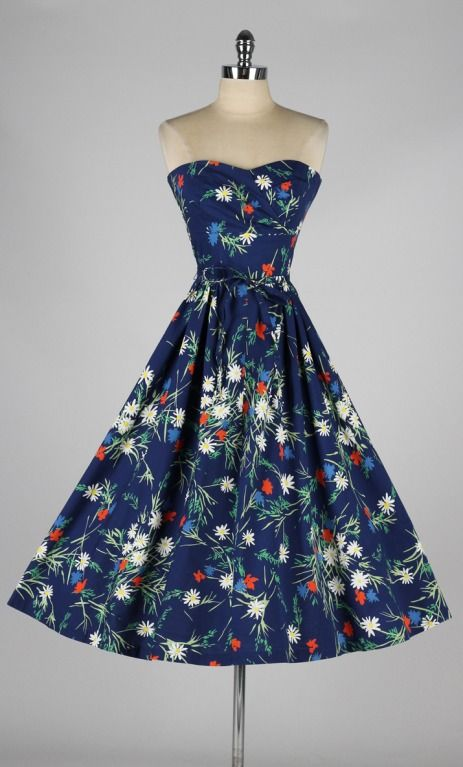 Vintage 1950's Jeannette Alexander Floral Cotton Dress | From a collection of rare vintage day dresses at http://www.1stdibs.com/fashion/clothing/day-dresses/