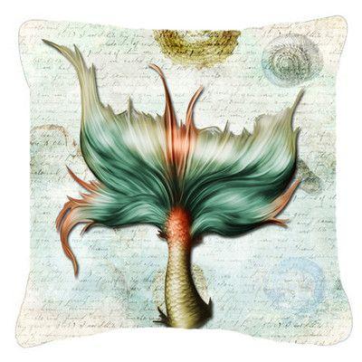 "Caroline's Treasures Mermaids and Mermen Tail Indoor/Outdoor Throw Pillow Size: 14"" H x 14"" W x 4"" D"