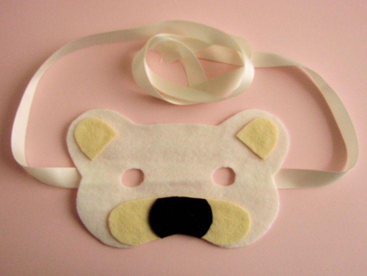 Masque ours : masque pour enfant, rapide à réaliser à partir de feutrine, ruban et colle textile.