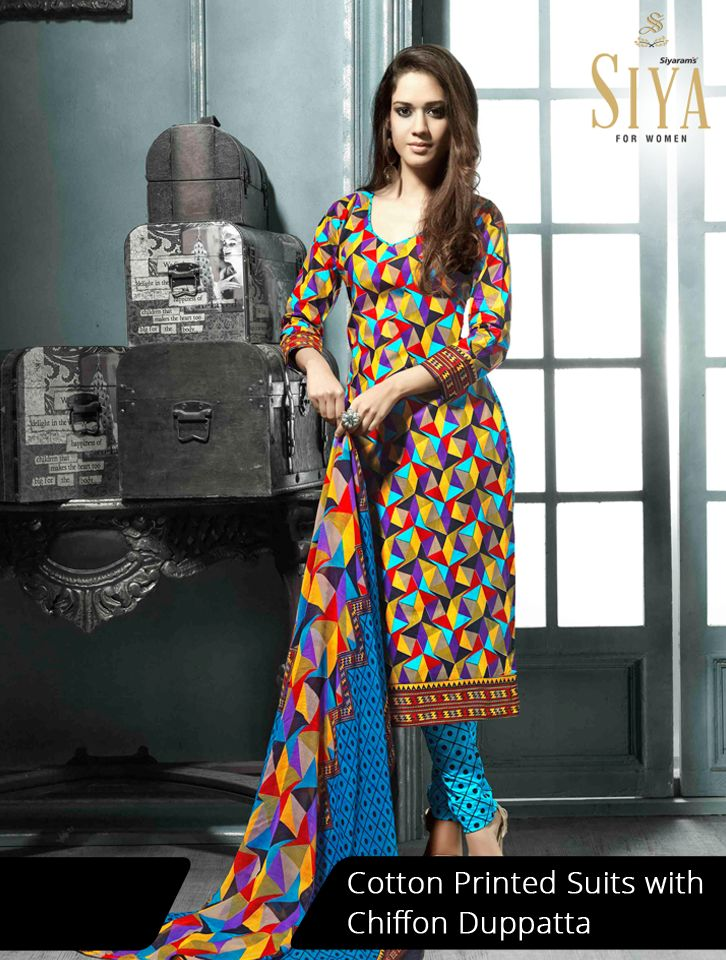 Gorgeous cotton suits with geometric prints priced reasonably #Dress #material #Ethnic #Siya