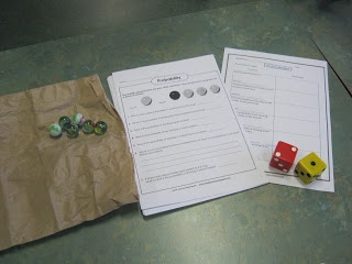 Probability Stations A fun and exciting way to teach probability in maths. I ran a station activity with the students where they had to rotate and complete a sheet at each station using a different type of concrete material Station #4: Using marbles and dice to solve probability questions.