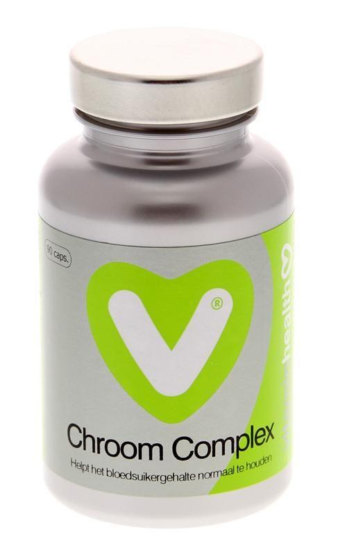 Vitaminhealth Chroom Complex 90 capsules - Chroom ondersteunt het lichaam bij de handhaving van de bloedsuikerspiegel en een normaal koolhydraatmetabolisme. Chroom Complex bevat een organische chroomverbinding (chroompicolinaat) die uitstekend door het lichaam wordt opgenomen. Zink, pantotheenzuur (vitamine B5) en mangaan zijn toegevoegd om de werking te ondersteunen. In het lichaam werken deze nutri�nten nauw met elkaar samen. Ook zink draagt bij tot een normaal metabolisme van…