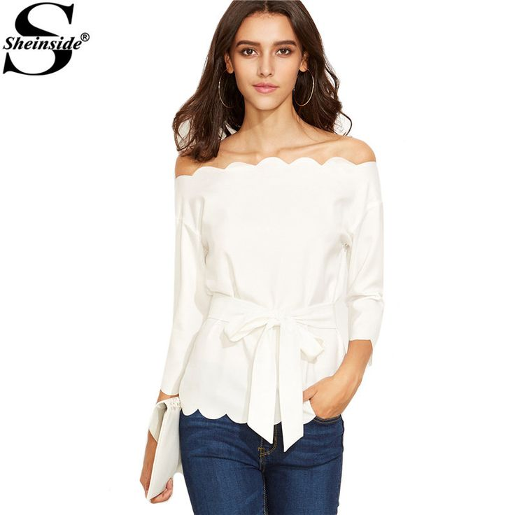 Sheinside White Belted Scallop Trim Off The Shoulder Top Autumn Solid Long Sleeve Vogue Blouse