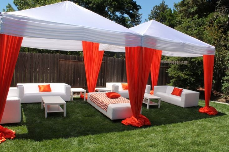 backyard graduation party | Orange & Black Graduation Party