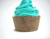 36 Burlap Cupcake Wrappers - Shabby Chic, Rustic, Fall, Autumn, Vintage, Birthday, Outdoor Wedding, Barn Wedding, Baby Shower, Bridal Shower. $11.00, via Etsy.
