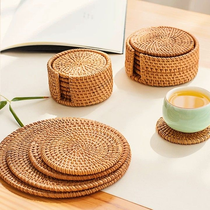 Woven Rattan Coaster Set Of Six Available Now On Negativespacestore Com Link In Bio Are You A Tea Or Coffee Pe In 2020 Rattan Table Dining Mats Bamboo Placemats