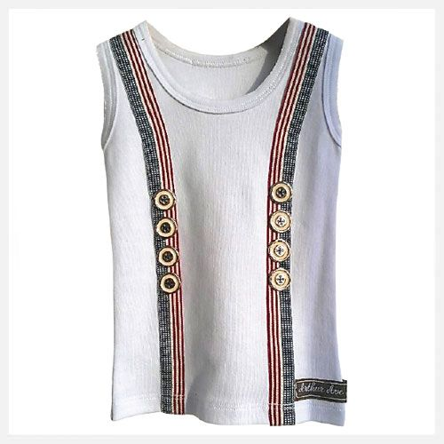 Arthur Ave   Boys Braces Vest   Navy with gold buttons at little green footprints
