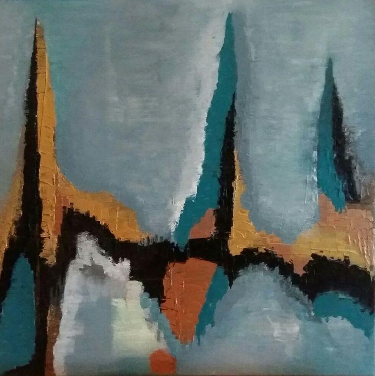pyramides abstrait acrylique