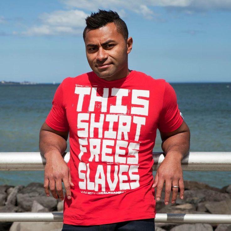 "92 Likes, 4 Comments - ETIKO (@etiko_fairtrade) on Instagram: ""AFL legend @davidrodan15 in our Free Slaves tee. Only $20 online now!   #wearnoevil #fairtrade"""